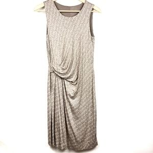 Garnet Hill Dress 8 Sleeveless 8 Tan White Print